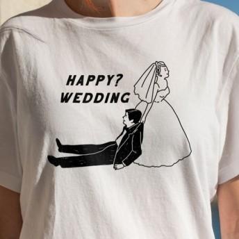 新郎新婦 ペアTシャツ2点セット【HAPPYWEDDING】 │ 結婚 ウェディング 前撮り
