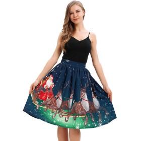 Leezeshaw女性のサンタそりプリント弾性ウエストバンドルーススイングボールガウンイブニングフレアスカートS-XL