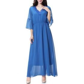 cheelot 女性アラビアカフタンイスラムabaya中東アラブシフォンドレス Lake Blue XL