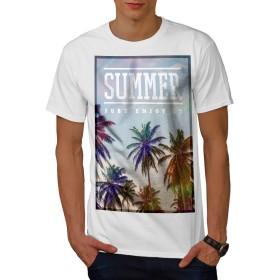 Wellcoda 楽しい 夏 太陽 休日 男性用 白 4XL Tシャツ