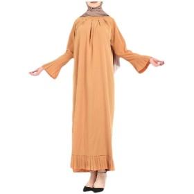 cheelot Women Pagoda Sleeve Baggy Arab Muslim Abaya A-line Dress Khaki S