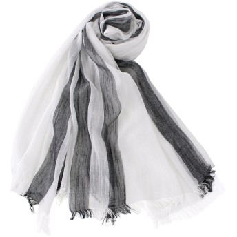 メンズストール専門店MORE Style #02-ホワイトMIX#爽やかなカラーのストライプストール コットン/ストール/マフラー/メンズ