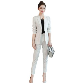 Foucome 事務服 レディース スーツ ol オフィス スーツ パンツスーツ 2点セット 入学式 就活 ビジネス 通勤 上下セット フォーマル リクルートスーツ おしゃれ ファッション 洗える レディース 大きいサイズ 九分丈 ホワイト XL