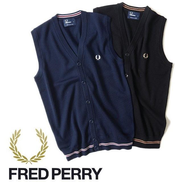 [クーポン対象アイテム 10/15(火) 9:59終了] Fred Perry フレッドペリー ニットベスト K9519 ウール メンズ