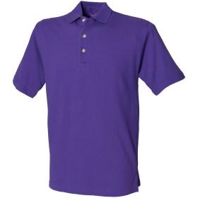 (ヘンブリー) Henbury メンズ クラシック 無地 スタンドアップカラー 半袖ポロシャツ トップス 定番 男性用 (M) (紫)