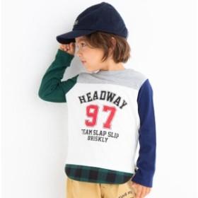 スラップスリップ(SLAP SLIP)/天竺配色切り替えナンバーTシャツ