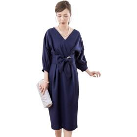 [DressStar] 体型カバー 袖あり フォーマル 膝丈 ワンピース ドレス スーツ レディース 大きいサイズ M(7~9号) ネイビー