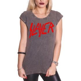 Slayer T Shirt Classic band Logo 新しい 公式 レディーズ acid wash Skinny Fit