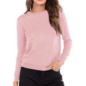Kankanluck 女性ニットプルオーバーカジュアルトップロングスリーブOネックバギーTシャツ Pink M