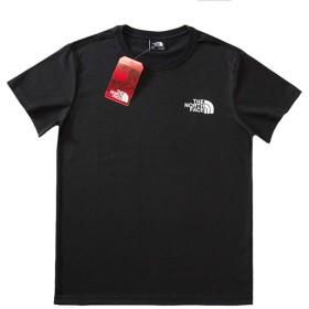 Tシャツ ショートスリーブスクエアロゴティー メンズ レディース 春 夏(ブラック、M)