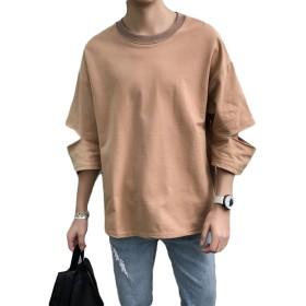 ZhongJue(ジュージェン) メンズ tシャツ ゆったり 7分袖 ダメージ加工 トップス カットソー 夏服 カジュアル プルオーバー ストリート Tシャツ 白Tシャツ(4カーキ)
