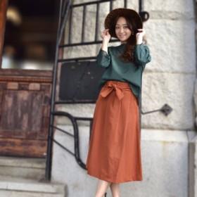 大人の女性の為のタック綺麗な美人スカート 「レンガ」