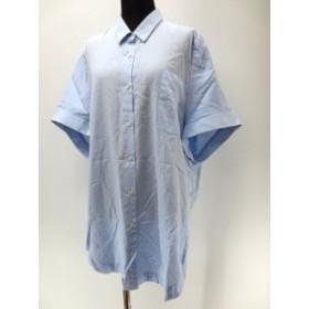 【中古】ウエムロ ムネノリ uemulo munenoli オーバーサイズ 胸ポケット付 ビッグシャツ ワンピース ブルー 春夏