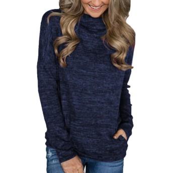 AngelSpace 女性ポケットシャツカジュアルルーズフィットチュニックトップバギー快適ブラウス Purplish Blue 2XL