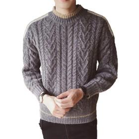 PIITE メンズ セーター ニット 秋 冬 セーター カットソー クルーネック ケーブル編み チェック柄 厚手 長袖 暖かい 修身グレーPT8