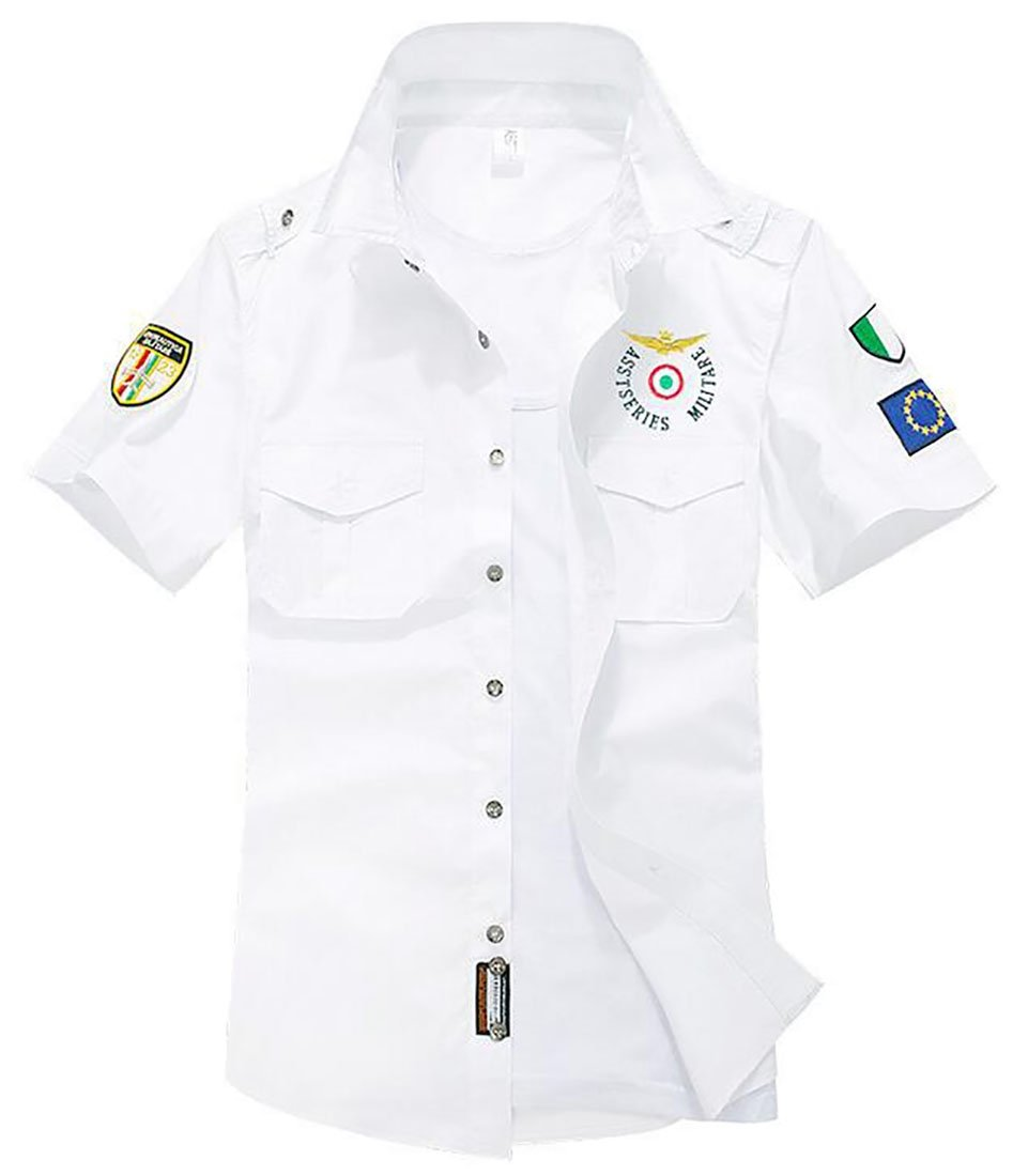 YUNY Mens Solid-Colored Pockets Button Summer Short-Sleeve Shirt XL Black