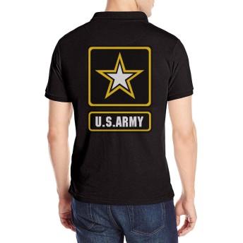 US Army アメリカ陸軍 ポロシャツ メンズ 半袖 Tシャツ スポーツポロシャツ ゴルフウェア ボタンダウン バックプリント 刺繍 無地 通気 吸汗速乾 おしゃれ ファッション 春秋 ユニセックス