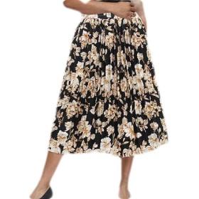 Sodossny-JP Women Summer Floral Print Pleated A Line Swing Midi Skirt 4 XS