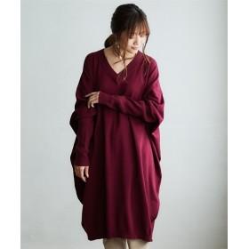 【ゆったりワンサイズ】洗えるUVカット綿100%Vネックロング丈ニットワンピース (ワンピース),dress
