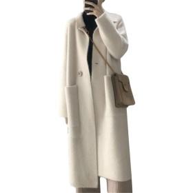 [ユリカー] カーディガン ニット レディース セーター コート ジャケット ロング丈 ポケット付き ゆったり 厚手 エレガント シンプル コーディネート ベージュM