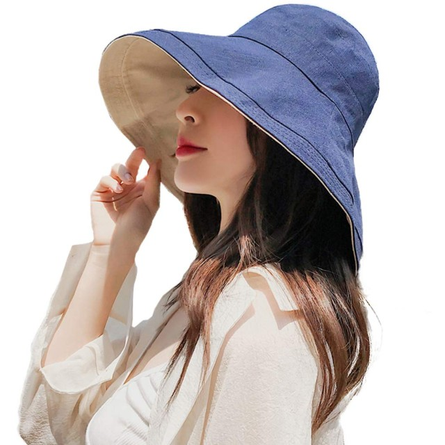 【UVカット率99.98% 小顔効果抜群】 あごひも付き レディース 帽子 [紫外線対策 日焼け防止 熱中症対策] ミラーシール セット (ネイビー)