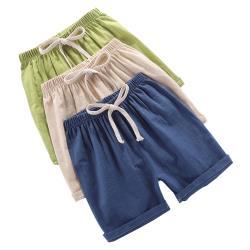 【JoyNa】兒童短褲 夏季竹節棉薄款睡褲棉麻短褲-3件入
