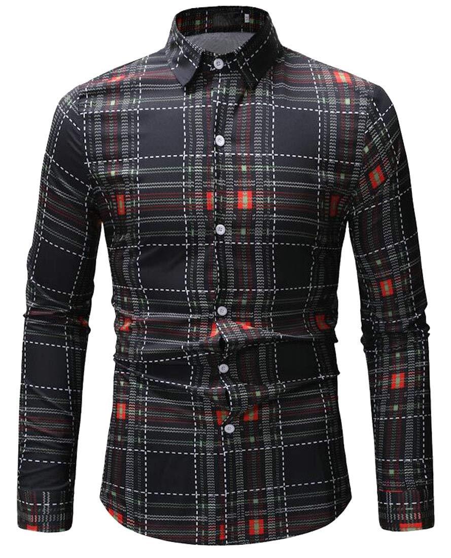 Smallwin Mens Regular Fit Long Sleeve Print Casual Button Up Shirts