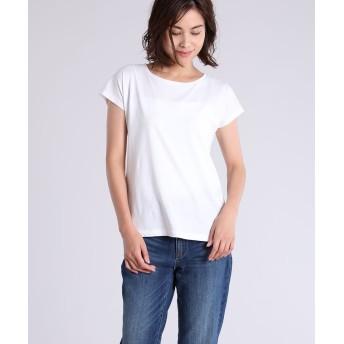 INED L 《大きいサイズ》フレンチスリーブドロップショルダーカットソー《スビンソロ天竺SUAVEX》 Tシャツ・カットソー,ホワイト