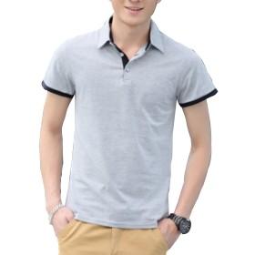 (ジー・スタイル) Ze-style メンズ ポロシャツ 半袖 かっこいいシンプルデザインで着こなし簡単 夏コーデ用ポロシャツとしても最適ZEAP-161204-light Grey-3XL