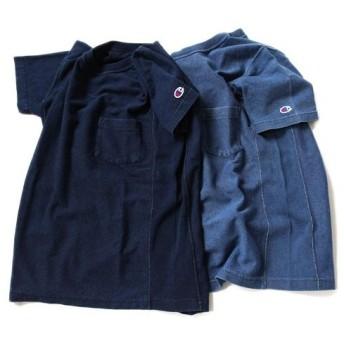 Champion チャンピオン リバースウィーブ インディゴT C3-H307 半袖Tシャツ ポケットT メンズ