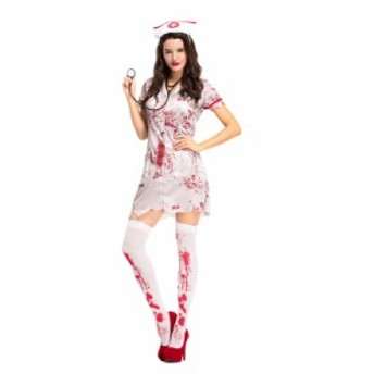 ハロウィン コスプレナース 看護婦 ワンピース ナース服 ホラー ゾンビ 女性用 コスチューム 仮装 衣装 イベント パーティー クリス