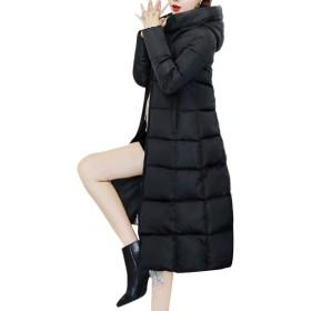 VITryst 女性フィットトレンディフード厚中長ジッパーコートジャケット Black S