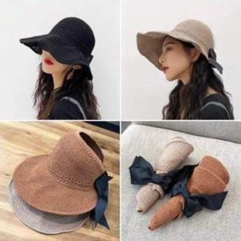 ビーチハット サンハット 日よけ帽子 UVカット レディース 韓国風 通気 リボン 柔らかい かわいい オシャレ 多色展開