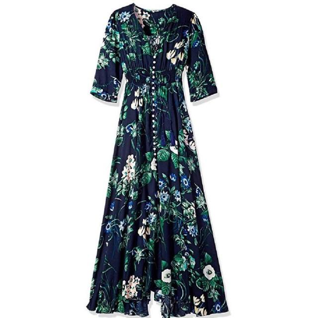 Aooword 女性エスニックスタイルルーズVネックビンテージレトロボヘミアンロングドレス Purplish Blue XL