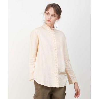(collex/collex)綿サテンフリルシャツ/レディース アイボリー 送料無料