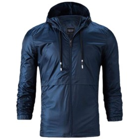 Fly Year-JP Men's Fashion Solid Color Waterproof Breathable Hooded Jacket Navy Blue XL