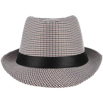 Y-BOA 千鳥格 中折れ帽子 中折れハット ソフトハット パナマ帽 紳士帽 ジャズ帽 つば広 メンズ レディース 男女兼用 おしゃれ ダンス カジュアル カーキ