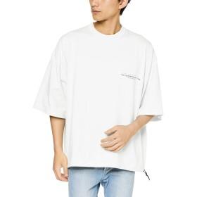ウィゴー(メンズ)(WEGO) スーパービッグ5分袖Tシャツ【ホワイト/M】