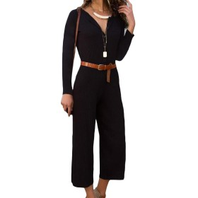 VITryst Women Lounge Pure Colour Overall Long-sleeve Jumpsuits Bodysuit Black S