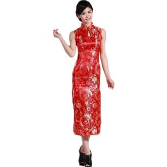 (上海物語)Shanghai Story 龍刺繍チャイナ風 ロングチャイナドレス 民族衣装 中華着物 S 赤