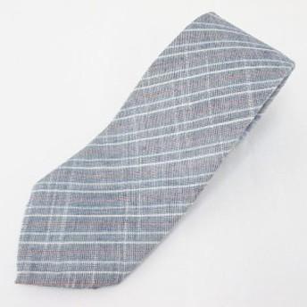 【中古】斜めストライプ柄 麻 リネン ネクタイ レギュラータイ 青系 ブルー 日本製 メンズ