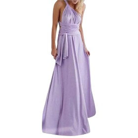 WE&energy 女性汎用セクシーマルチウェイアンクルロングパーティーイブニングドレス Purple S