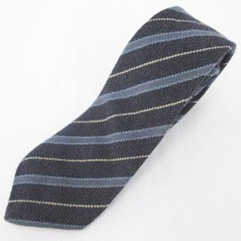 【中古】ファンシーウール Fancy Wool 斜めストライプ柄 シルク 絹 ネクタイ レギュラータイ 紺系 ネイビー メンズ