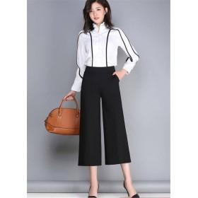 大きいサイズ ファッション、ワイドレッグパンツ、女性、ズボン、夏新スタイル、9分丈、ハイウエスト、ゆったりする、大きいサイズ、ワイルド、脂肪mm、カジュアルパンツ