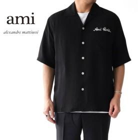 ami アミアレクサンドルマテュッシ ロゴ刺繍 レーヨンシャツ E19C206 メンズ