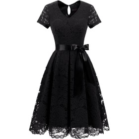 Dresstell(ドレステル) 結婚式 パーティードレス ワンピース レース 袖あり 膝丈 Vネック 二次会 お呼ばれ イブニング レディース ブラック 2XLサイズ