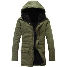 Zhuhaitf 高品質 Mens Long Sleeve Fleece Lined Overcoat Trench Coat Windproof Long Jacket Coat Outerwear Christmas Present