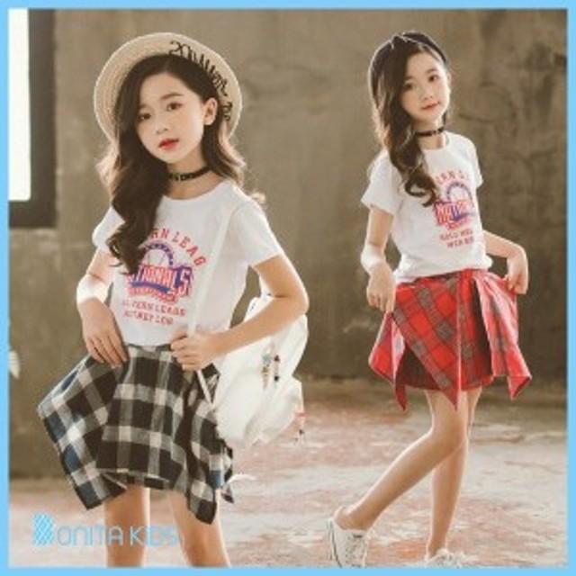 子供服 女の子 韓國子供服 キッズ オルチャン オルチャンガーリー ガール セットアップ スクールコーデ リゾート Tシャツ チ