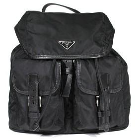 プラダ PRADA バッグ リュック バッグパック ナイロン×レザー ブラック シルバー金具 BZ0001 レディース メンズ 定番 人気 美品 中古