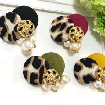 豹柄 レオパード ×シンプルカラーとコットンパール ポニーフック